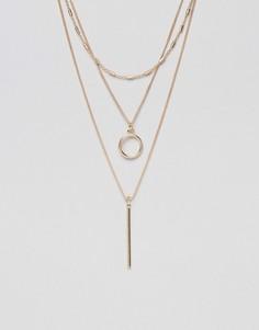 Ожерелье в несколько рядов с подвеской-планкой Ashiana - Золотой