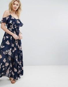 Платье макси с открытыми плечами и оборками Abercrombie & Fitch - Темно-синий
