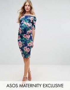 Платье с открытыми плечами, рукавами до локтя и пальмово-цветочным принтом ASOS Maternity - Темно-синий