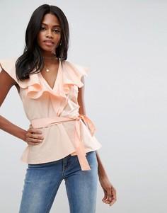 Хлопковая блузка с оборками и завязкой ASOS - Розовый