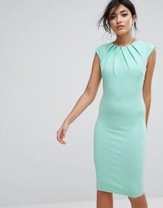 Платье миди со складками City Goddess - Зеленый