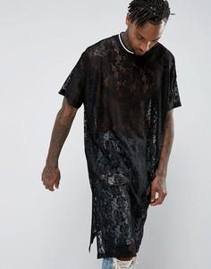 Кружевная oversize-футболка удлиненного кроя ASOS - Черный