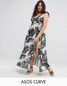 Пляжное платье макси с пальмовым принтом ASOS CURVE - Мульти