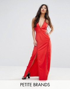 Платье макси с перекрестной спиной кроше Boohoo Petite - Красный