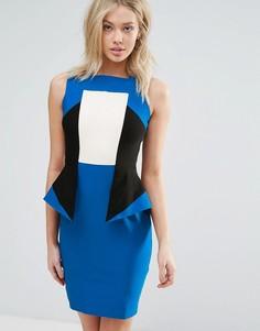 Платье колор блок с баской Vesper - Синий