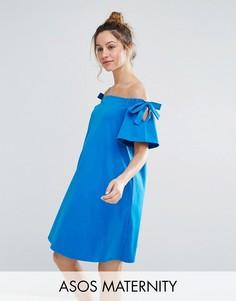 Платье с открытыми плечами и завязками на рукавах ASOS Maternity - Синий