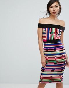 Платье-футляр миди в контрастную полоску с открытыми плечами Vesper - Мульти