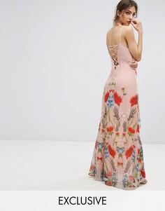 Платье макси с принтом и шнуровкой сзади Hope & Ivy - Розовый