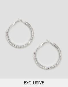 Серьги-кольца со стразами Reclaimed Vintage - Серебряный