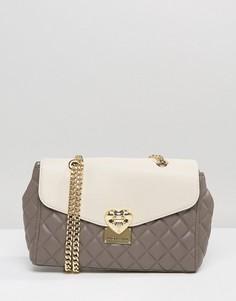 Стеганая сумка на плечо Love Moschino - Серый