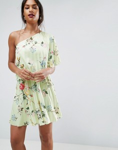 Плиссированное платье мини на одно плечо с цветочным принтом ASOS - Мульти
