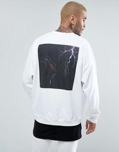 Oversize-свитшот с молнией на спине FACTORY - Белый