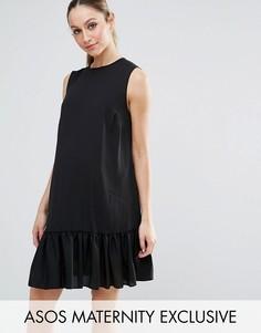 Платье без рукавов с асимметричным краем ASOS Maternity - Черный