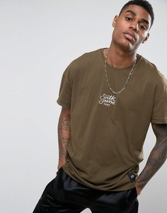 Oversize-футболка цвета хаки с логотипом Sixth June - Зеленый