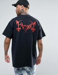 Oversize-футболка с принтом логотипа на спине FACTORY - Черный