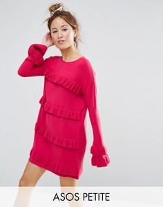 Платье с рюшами и рукавами клеш ASOS PETITE - Розовый