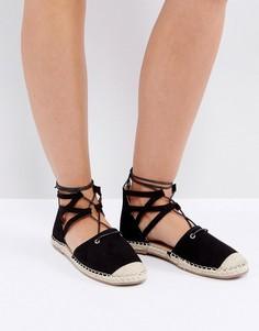 Эспадрильи с блестками на шнуровке Truffle Collection - Черный