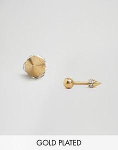 Позолоченные серьги-гвоздики с кристаллами Orelia - Золотой