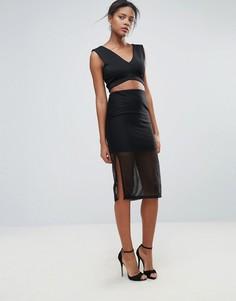 Сетчатая юбка миди New Look - Черный
