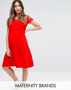 Трикотажное платье с короткими рукавами Mamalicious - Красный Mama.Licious