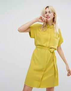 Платье-рубашка с поясом на завязке Monki - Желтый