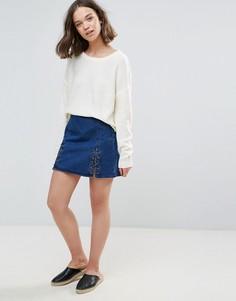 Джинсовая юбка с завязкой Brave Soul Criss - Синий
