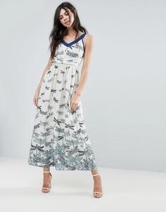 Платье макси с принтом стрекоз Uttam Boutique - Синий