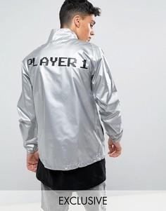 Серебристая фестивальная ветровка с принтом Player 1 на спине Reclaimed Vintage Inspired - Серый