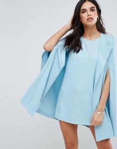 Цельнокройное платье с кейпом Unique 21 - Синий
