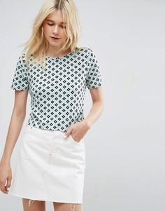 Укороченная свободная футболка с мозаичным принтом ASOS - Мульти