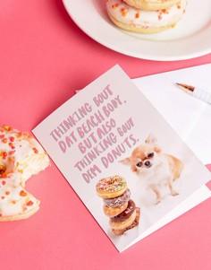 Открытка с надписью Thinking Bout Dem Donuts Jolly Awesome - Мульти