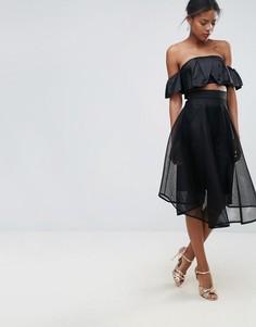 Расклешенная тюлевая юбка на шнуровке New Look - Черный