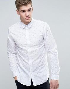 Узкая рубашка с мелким принтом Jack & Jones Core - Белый