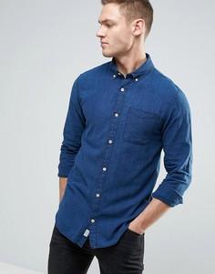 Приталенная рубашка из хлопка шамбре Jack & Jones Vintage - Синий