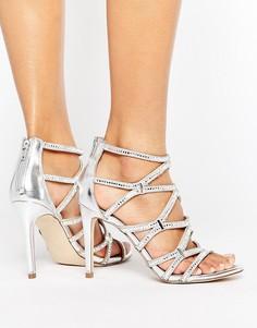 Босоножки на каблуке с решеткой из ремешков и эффектом металлик ALDO Liah - Серебряный
