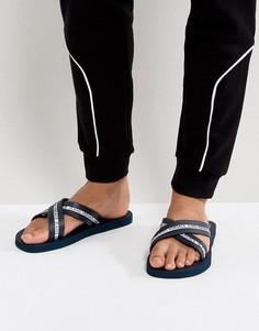 Шлепанцы с перекрестными ремешками и логотипом Versace Jeans - Темно-синий