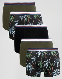 Набор из 5 пар боксеров-брифов с цветочным принтом и поясом в полоску ASOS - Мульти