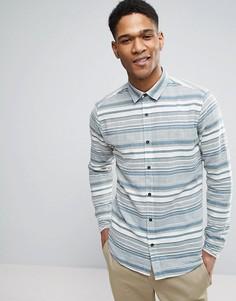Узкая рубашка в жаккардовую полоску Only & Sons - Синий