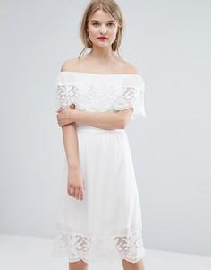 Кружевное платье с открытыми плечами Vila - Белый