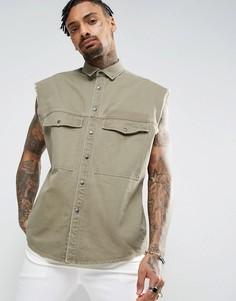 Свободная рубашка в стиле милитари без рукавов цвета хаки ASOS - Зеленый
