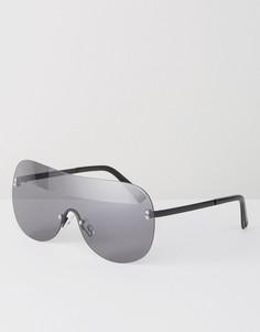 Очки-маска с дымчатыми стеклами и черными матовыми дужками ASOS - Черный