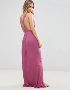 Трикотажное пляжное платье макси с перекрестом на спине ASOS - Фиолетовый