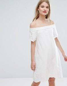 Свободное платье с широким вырезом и вышивкой Vila - Мульти