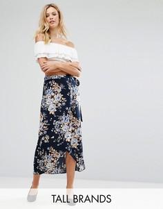 Юбка макси с цветочным принтом и запахом Vero Moda Tall - Темно-синий