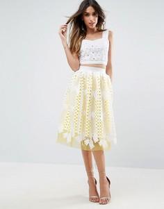 Кружевное платье для выпускного с контрастной тюлевой подкладкой ASOS - Мульти