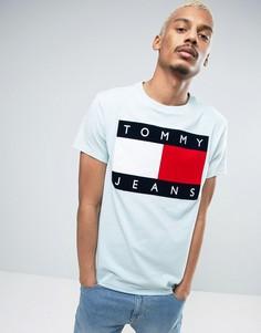 Голубая футболка в стиле 90-х с логотипом Tommy Jeans M1 - Синий