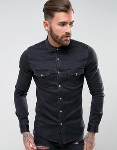 Черная джинсовая рубашка скинни в стиле вестерн ASOS - Черный