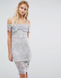 Ажурное платье миди с открытыми плечами Boohoo - Синий