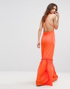Платье макси с перекрестами на спине Boohoo - Оранжевый