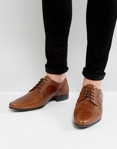 Светло-коричневые кожаные туфли дерби с тиснением ASOS - Рыжий
